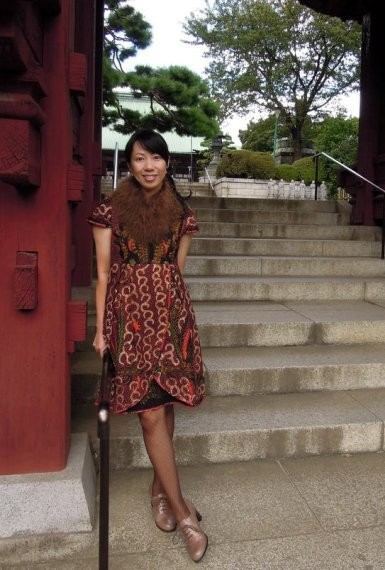 Indriati Wonosoebekti wears batik amarillis's blooming dress